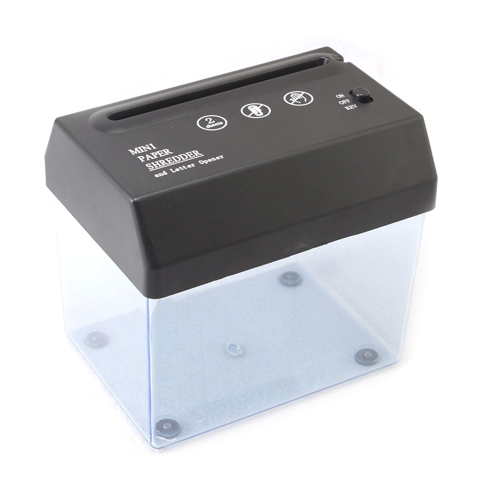 portable paper shredder The portable shredder comprises at least one rotating shaft having a first plurality of circular blades that engage a second set of blades to shred a receipt as it.